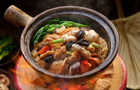 Claypot Rice With Chicken Live Frog