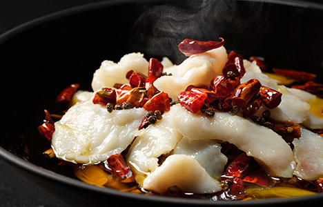 Boiled sliced fish with spicy chilli sauce